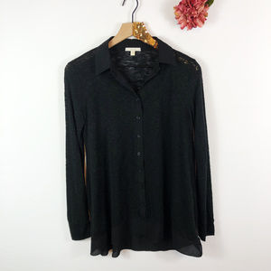 [PLEIONE] Semi Sheer Button Front Collared Shirt